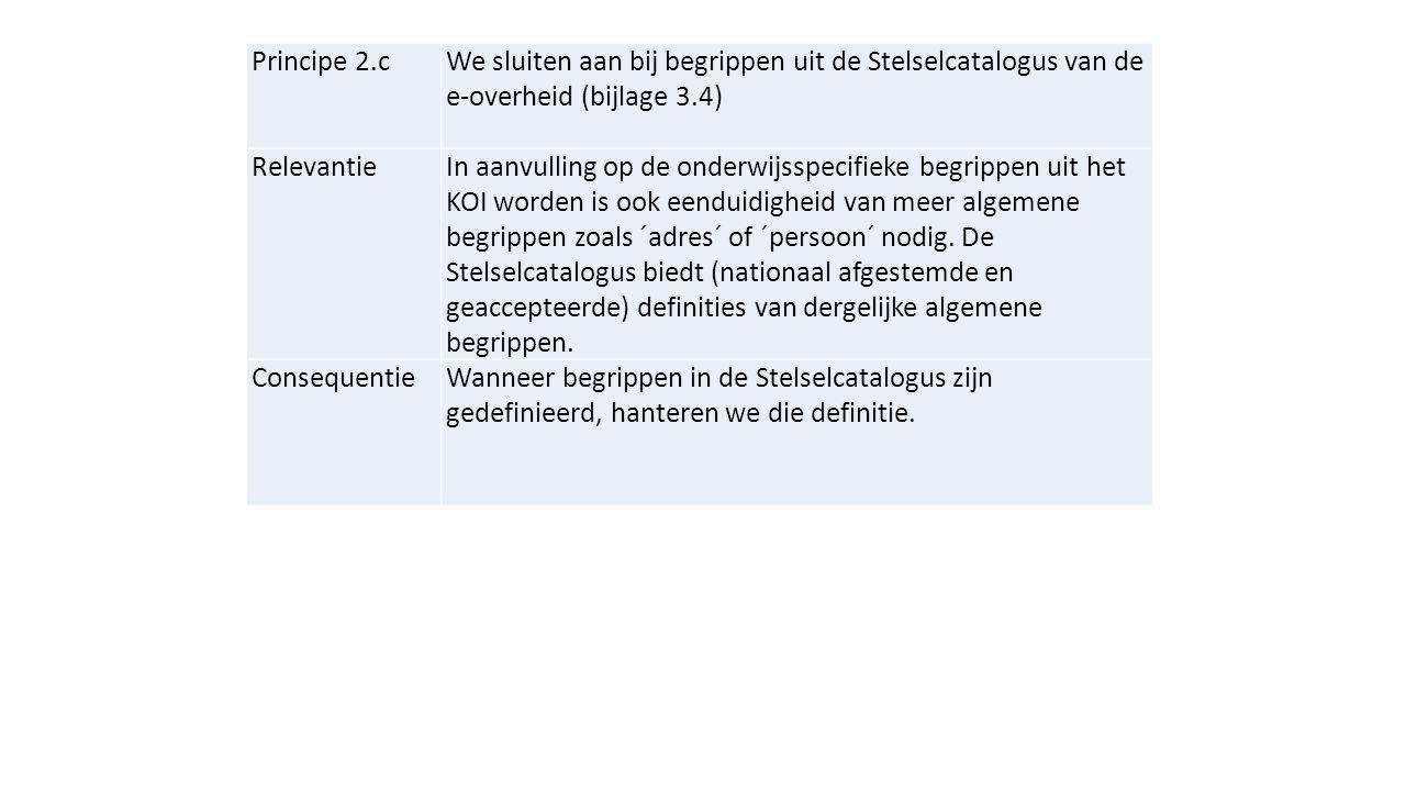 Principe 2.c We sluiten aan bij begrippen uit de Stelselcatalogus van de e-overheid (bijlage 3.4)
