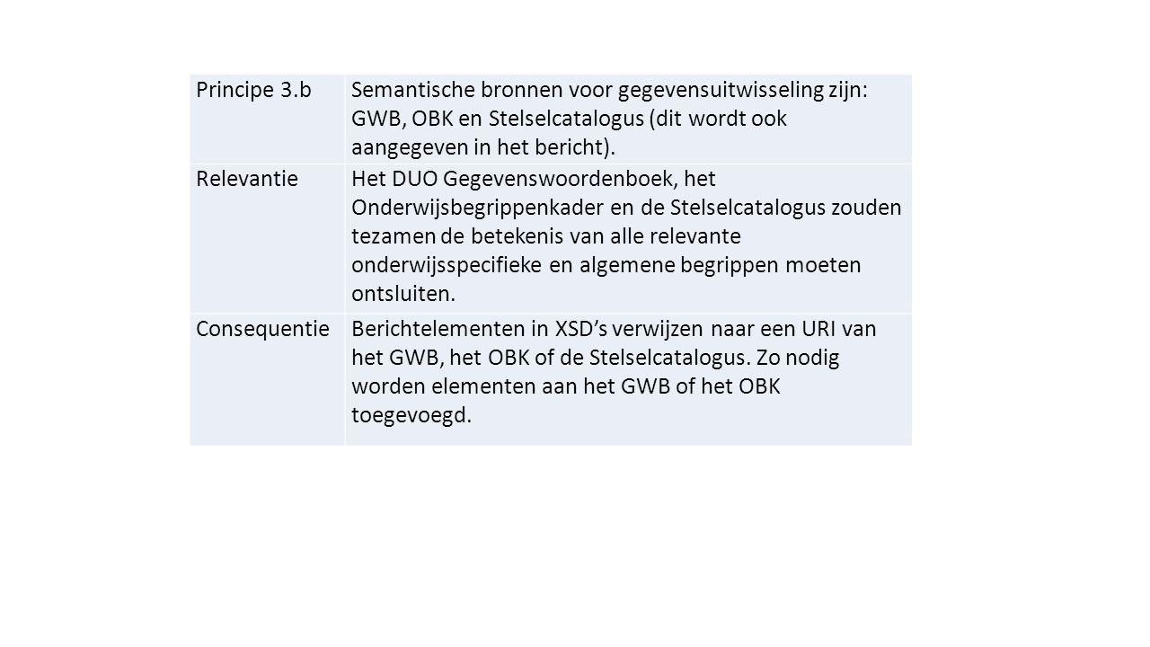 Principe 3.b Semantische bronnen voor gegevensuitwisseling zijn: GWB, OBK en Stelselcatalogus (dit wordt ook aangegeven in het bericht).
