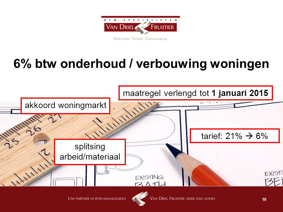 6% btw onderhoud / verbouwing woningen