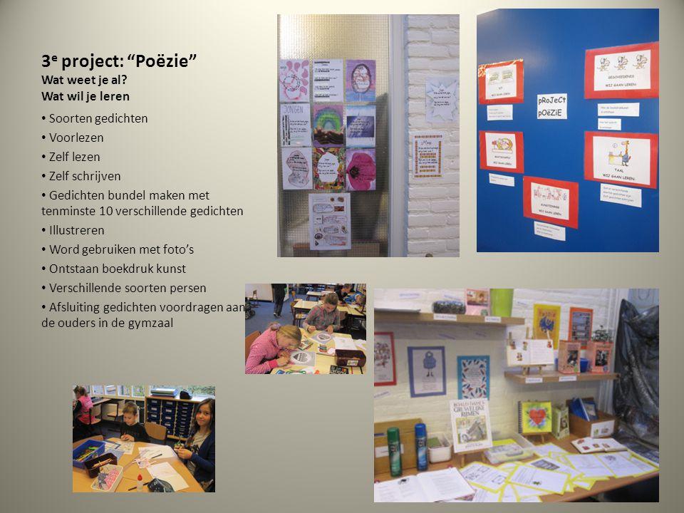 3e project: Poëzie Wat weet je al Wat wil je leren