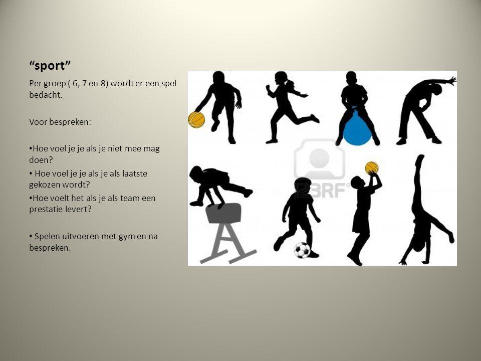 sport Per groep ( 6, 7 en 8) wordt er een spel bedacht.