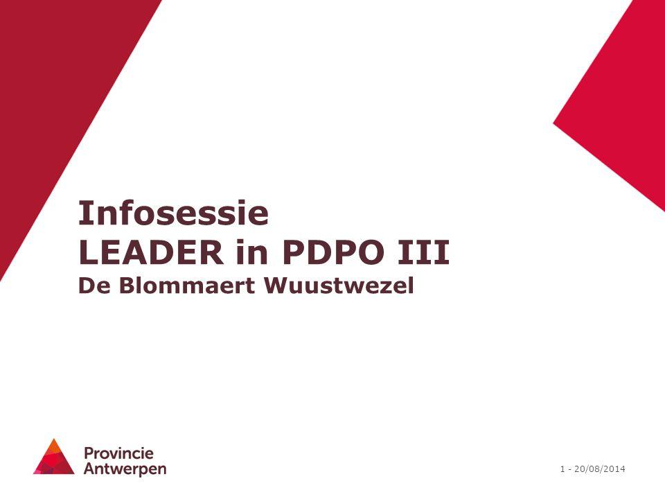 Infosessie LEADER in PDPO III De Blommaert Wuustwezel