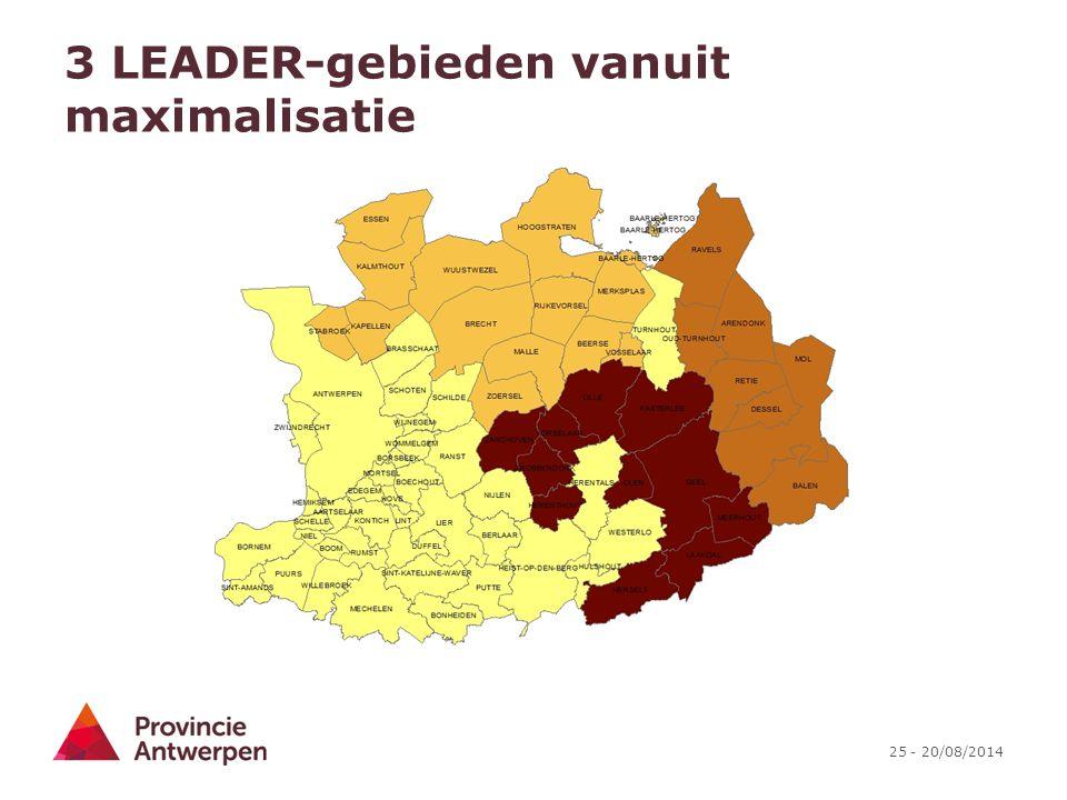 3 LEADER-gebieden vanuit maximalisatie