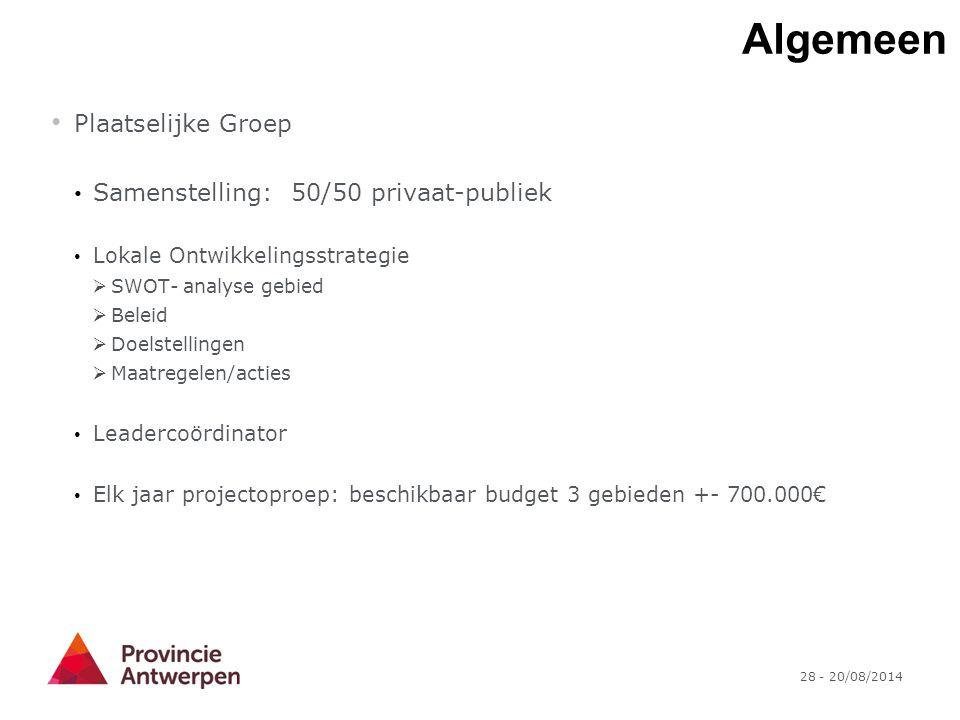 Algemeen Plaatselijke Groep Samenstelling: 50/50 privaat-publiek
