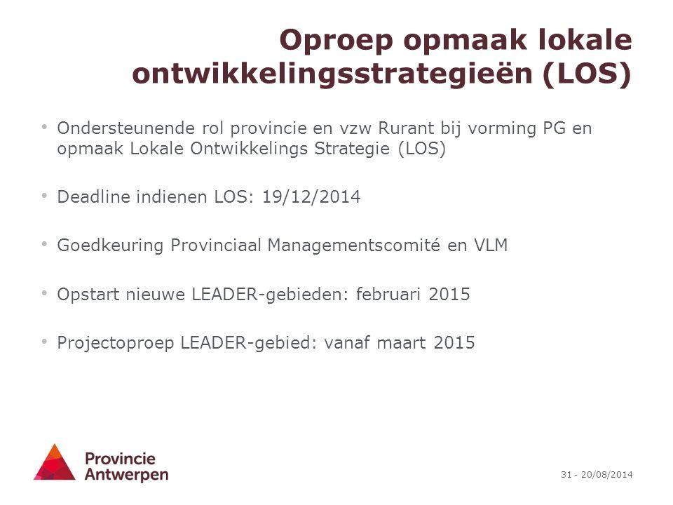 Oproep opmaak lokale ontwikkelingsstrategieën (LOS)