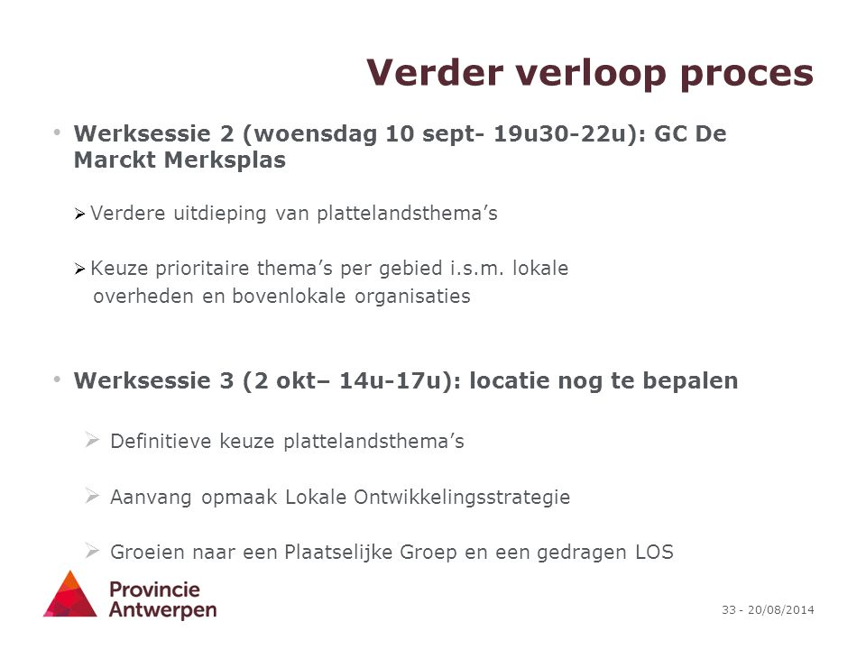 Verder verloop proces Werksessie 2 (woensdag 10 sept- 19u30-22u): GC De Marckt Merksplas. Verdere uitdieping van plattelandsthema's.