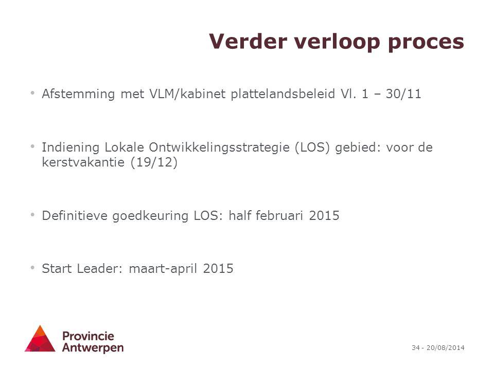 Verder verloop proces Afstemming met VLM/kabinet plattelandsbeleid Vl. 1 – 30/11.