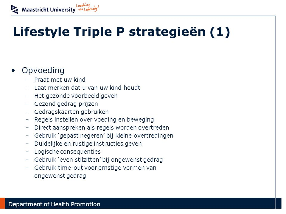 Lifestyle Triple P strategieën (1)