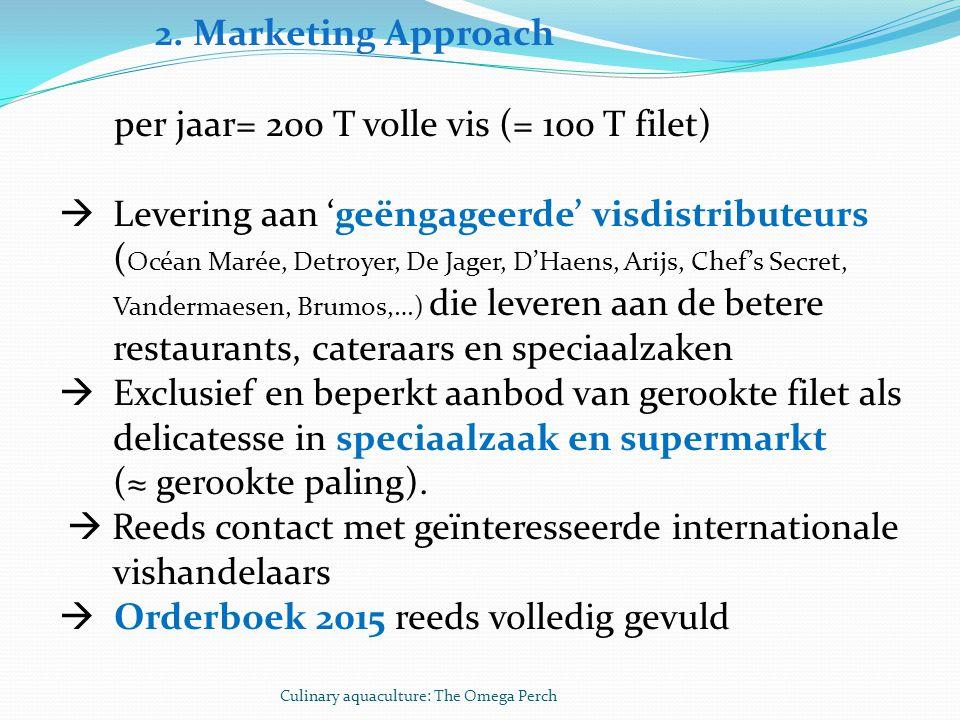2. Marketing Approach per jaar= 200 T volle vis (= 100 T filet)