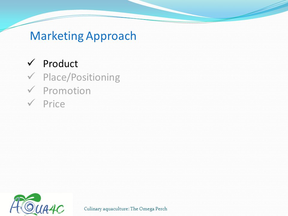 Marketing Approach Product Place/Positioning Promotion Price