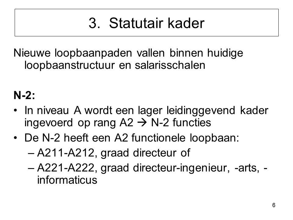 3. Statutair kader Nieuwe loopbaanpaden vallen binnen huidige loopbaanstructuur en salarisschalen.