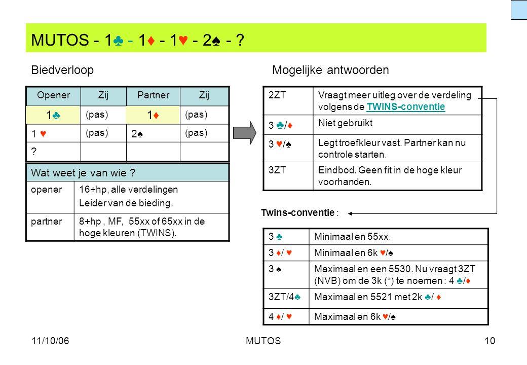 MUTOS - 1♣ - 1♦ - 1♥ - 2♠ - Biedverloop Mogelijke antwoorden 1♣ 1♦
