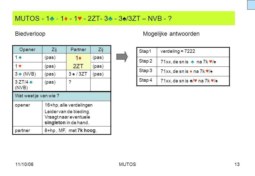 MUTOS - 1♣ - 1♦ - 1♥ - 2ZT- 3♣ - 3♠/3ZT – NVB -