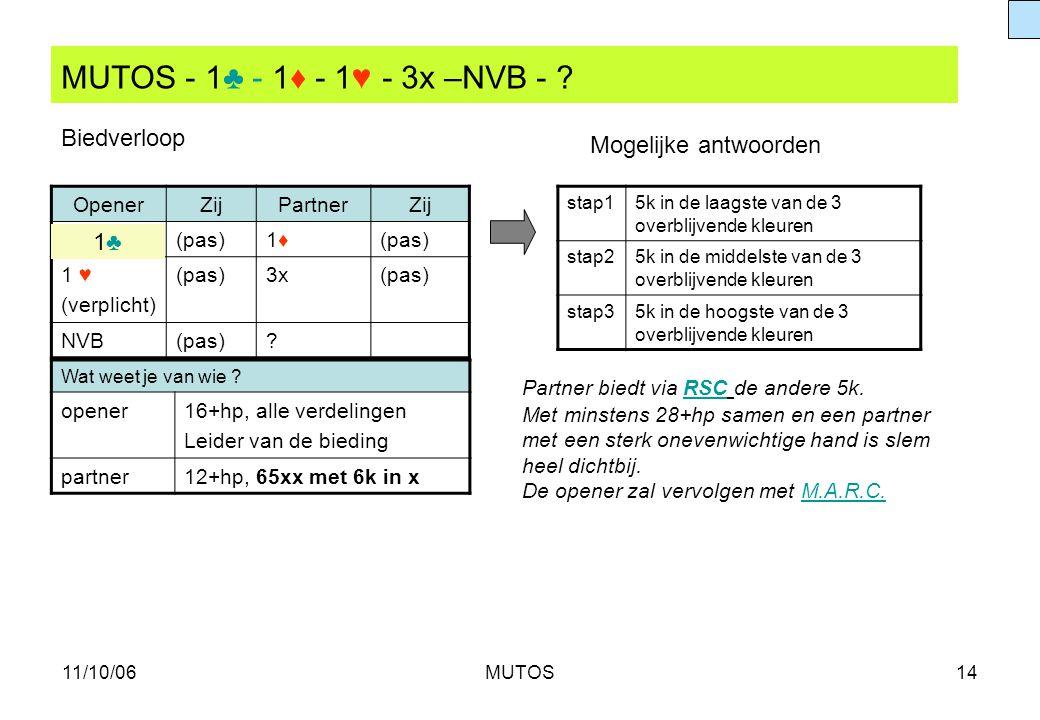 MUTOS - 1♣ - 1♦ - 1♥ - 3x –NVB - Biedverloop Mogelijke antwoorden 1♣