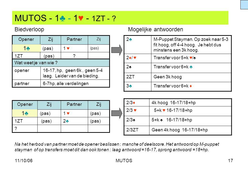 MUTOS - 1♣ - 1♥ - 1ZT - Biedverloop Mogelijke antwoorden 1♣ 1♣