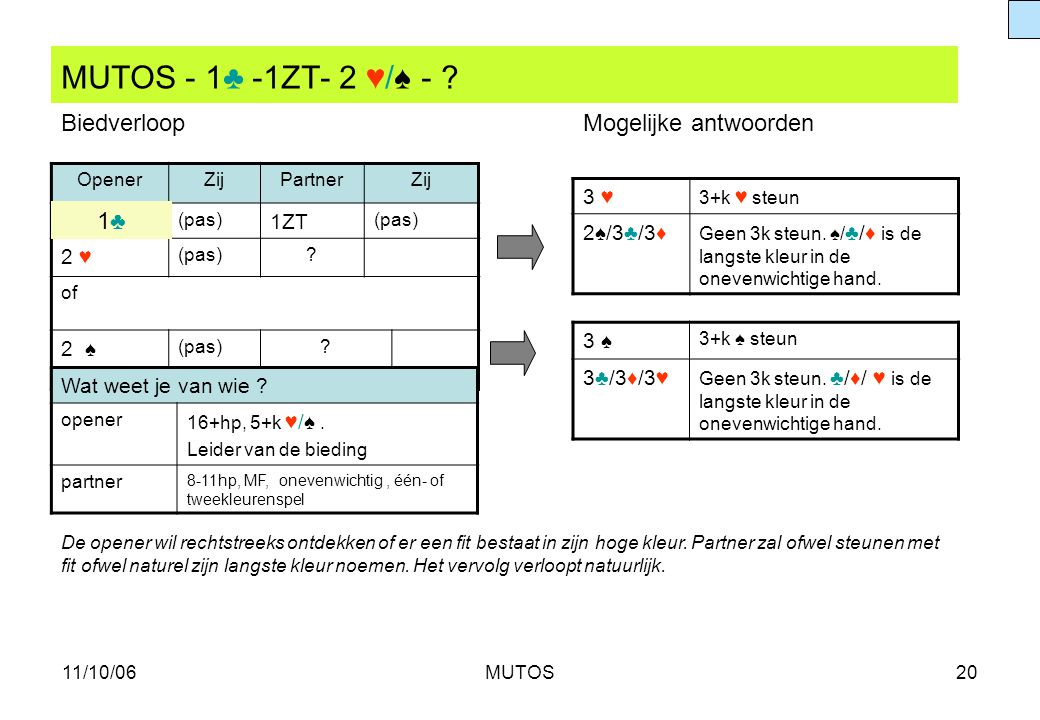 MUTOS - 1♣ -1ZT- 2 ♥/♠ - Biedverloop Mogelijke antwoorden 1♣ 3 ♥ 1ZT