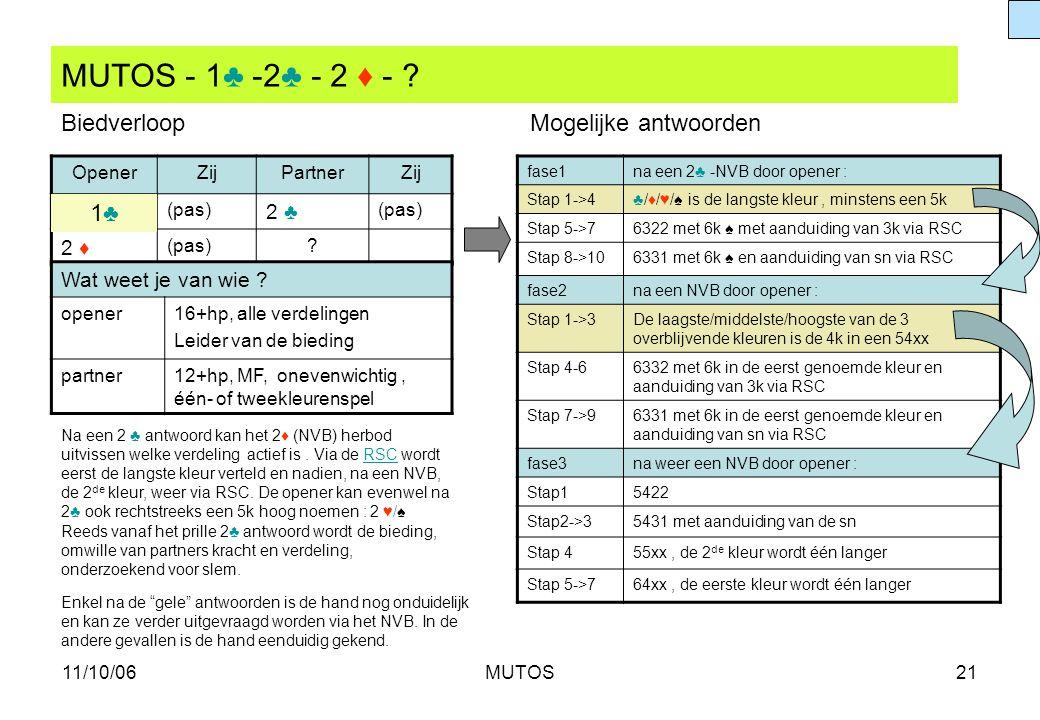 MUTOS - 1♣ -2♣ - 2 ♦ - Biedverloop Mogelijke antwoorden 1♣ 2 ♣ 2 ♦