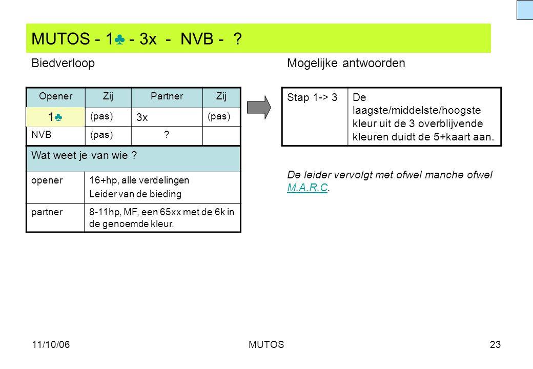 MUTOS - 1♣ - 3x - NVB - Biedverloop Mogelijke antwoorden 1♣ 3x