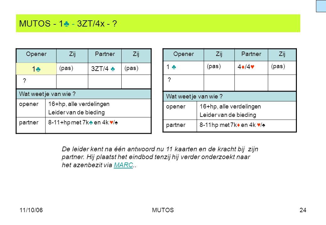 MUTOS - 1♣ - 3ZT/4x - 1♣ 3ZT/4 ♣ 1 ♣ 4♦/4♥