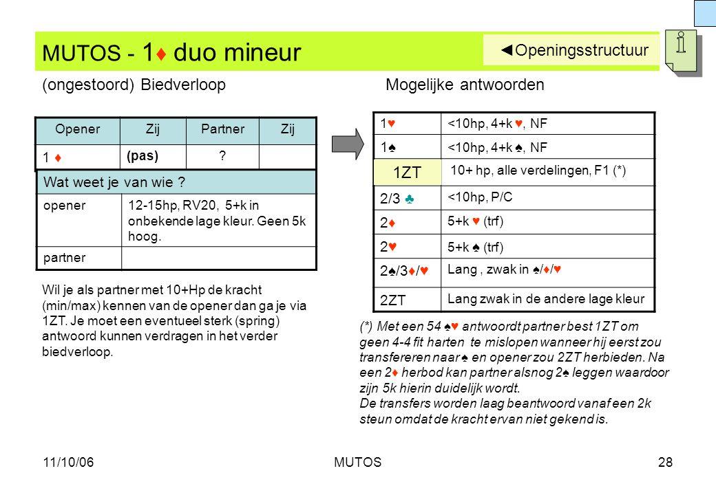MUTOS - 1♦ duo mineur ◄Openingsstructuur (ongestoord) Biedverloop