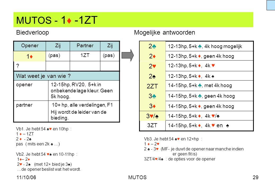 MUTOS - 1♦ -1ZT Biedverloop Mogelijke antwoorden 2♣ 1♦ 2♦ 2♥ 2♠ 2ZT 3♣