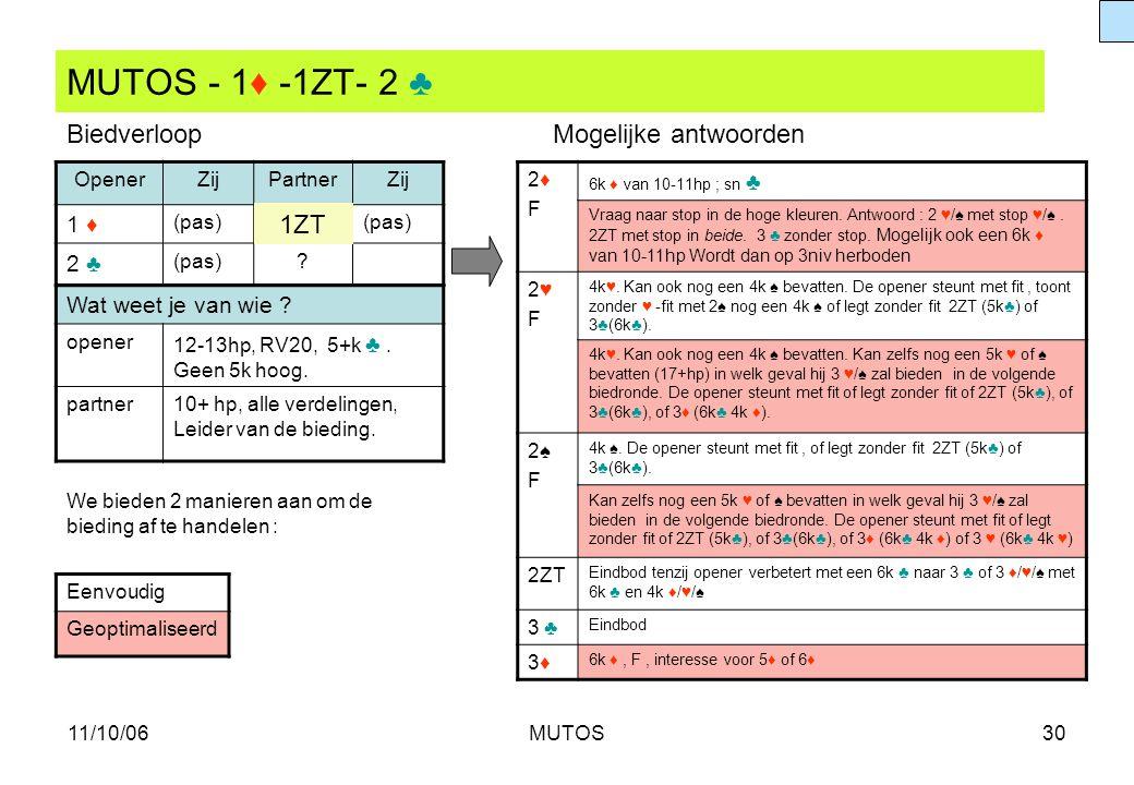 MUTOS - 1♦ -1ZT- 2 ♣ Biedverloop Mogelijke antwoorden 1ZT 1 ♦ 2 ♣