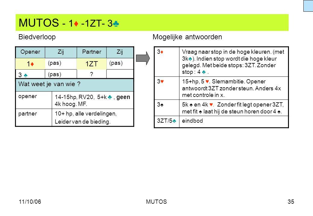 MUTOS - 1♦ -1ZT- 3♣ Biedverloop Mogelijke antwoorden 1♦ 1ZT 3 ♣