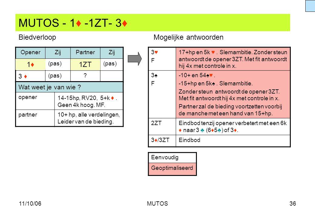 MUTOS - 1♦ -1ZT- 3♦ Biedverloop Mogelijke antwoorden 1♦ 1ZT 3 ♦