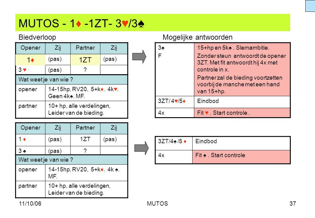 MUTOS - 1♦ -1ZT- 3♥/3♠ Biedverloop Mogelijke antwoorden 1♦ 1ZT Opener