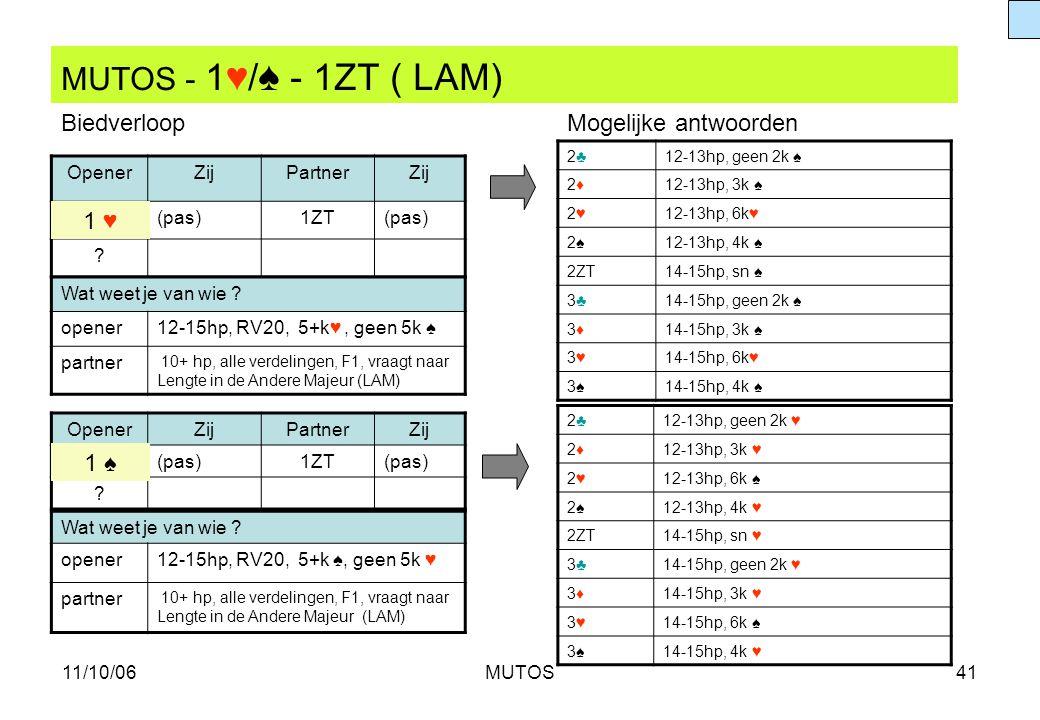MUTOS - 1♥/♠ - 1ZT ( LAM) Biedverloop Mogelijke antwoorden 1 ♥ 1 ♠