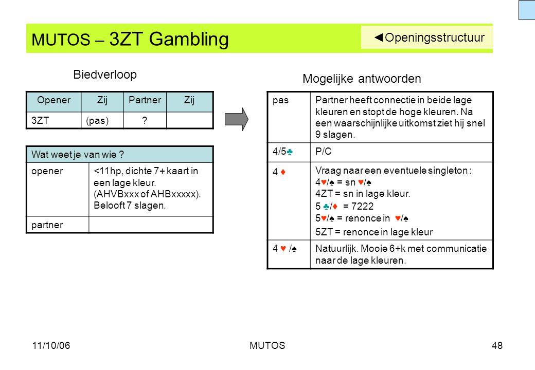 MUTOS – 3ZT Gambling ◄Openingsstructuur Biedverloop