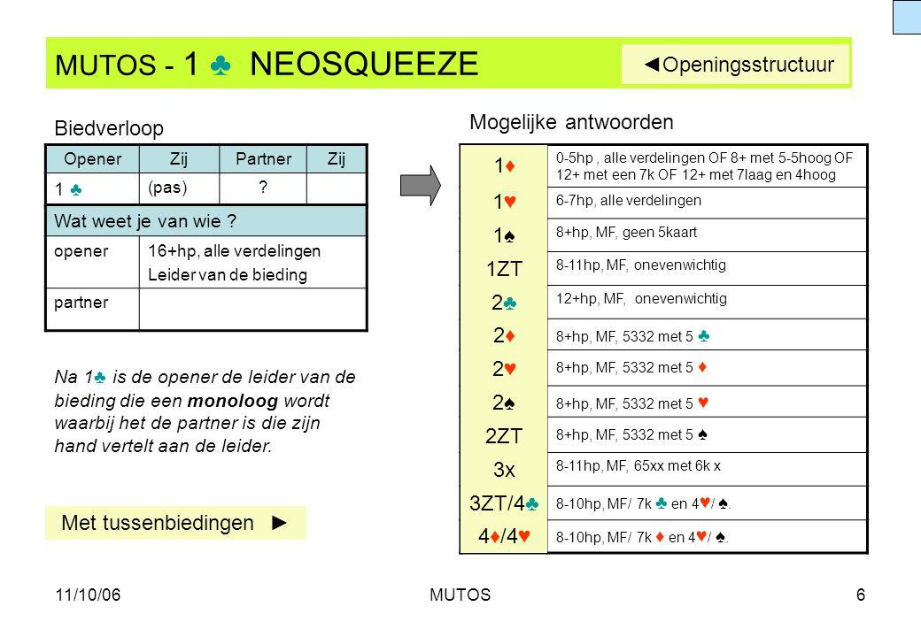 MUTOS - 1 ♣ NEOSQUEEZE ◄Openingsstructuur Mogelijke antwoorden
