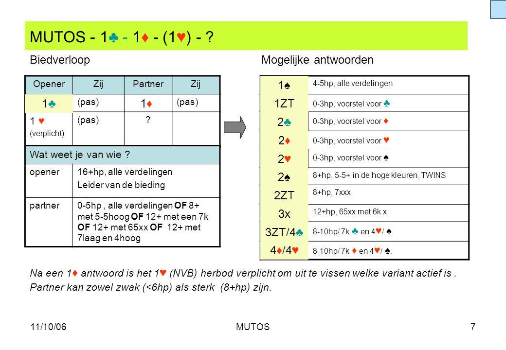 MUTOS - 1♣ - 1♦ - (1♥) - Biedverloop Mogelijke antwoorden 1♠ 1♣ 1♦