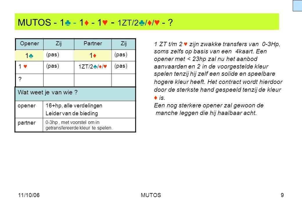 MUTOS - 1♣ - 1♦ - 1♥ - 1ZT/2♣/♦/♥ -