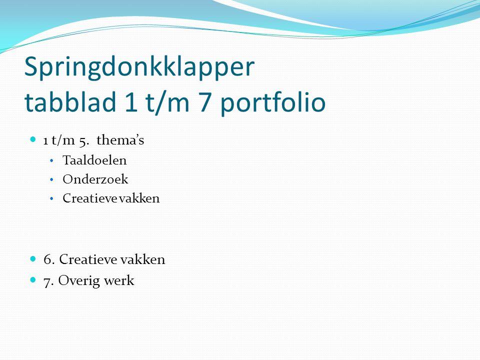 Springdonkklapper tabblad 1 t/m 7 portfolio
