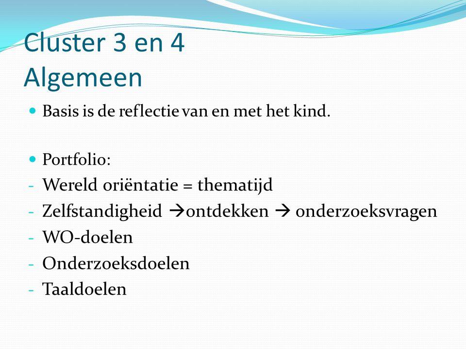 Cluster 3 en 4 Algemeen Wereld oriëntatie = thematijd