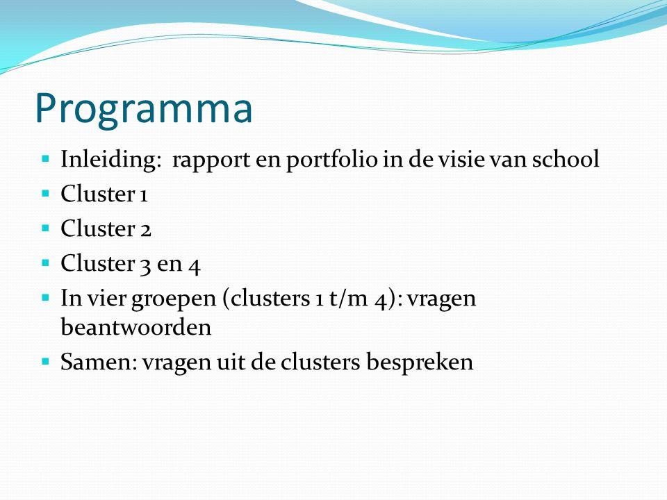 Programma Inleiding: rapport en portfolio in de visie van school
