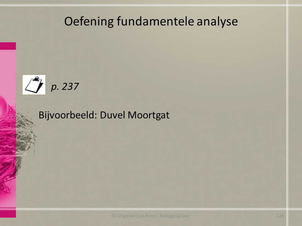 Oefening fundamentele analyse