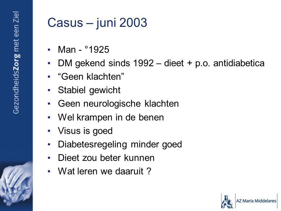 Casus – juni 2003 Man - °1925. DM gekend sinds 1992 – dieet + p.o. antidiabetica. Geen klachten