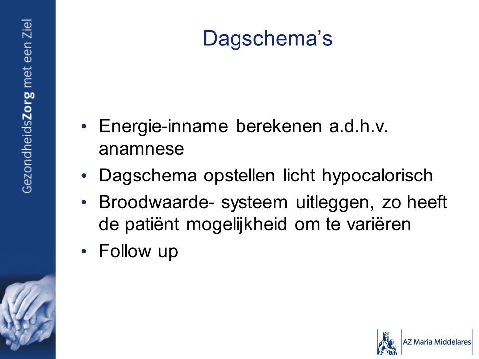 Dagschema's Energie-inname berekenen a.d.h.v. anamnese