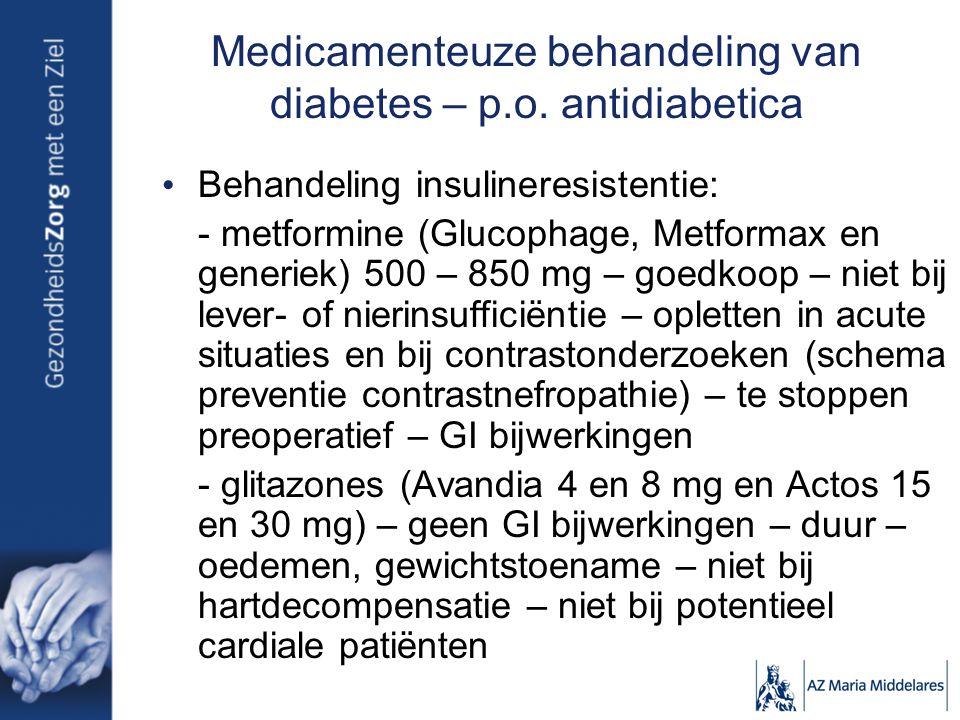 Medicamenteuze behandeling van diabetes – p.o. antidiabetica