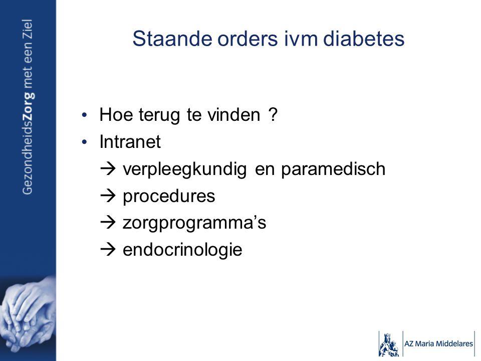 Staande orders ivm diabetes
