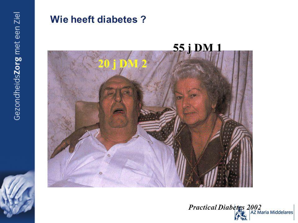 55 j DM 1 20 j DM 2 Wie heeft diabetes Practical Diabetes 2002