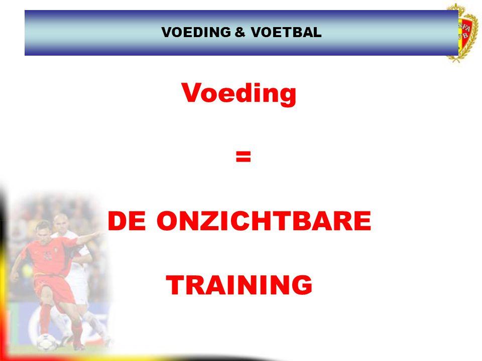 VOEDING & VOETBAL Voeding = DE ONZICHTBARE TRAINING