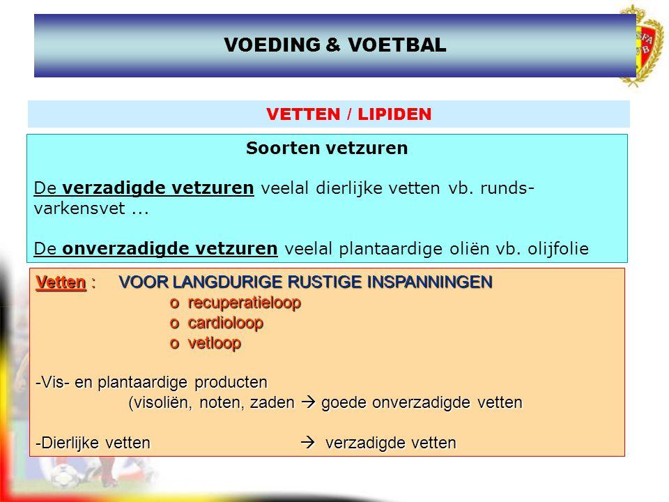 VOEDING & VOETBAL VETTEN / LIPIDEN Soorten vetzuren
