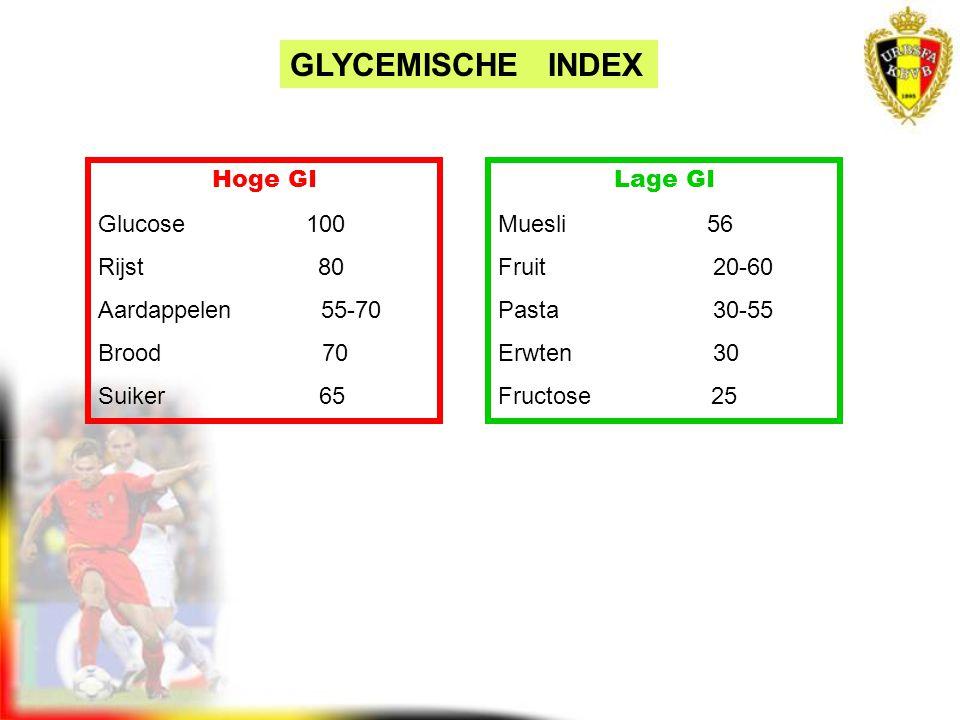GLYCEMISCHE INDEX Hoge GI Glucose 100 Rijst 80 Aardappelen 55-70