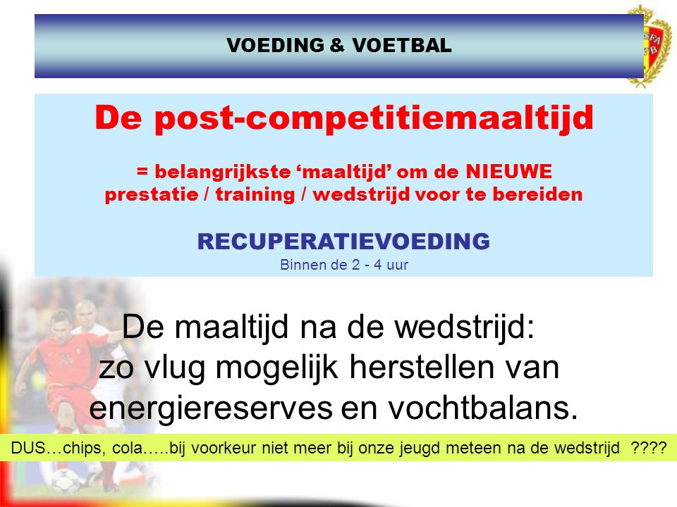 De post-competitiemaaltijd