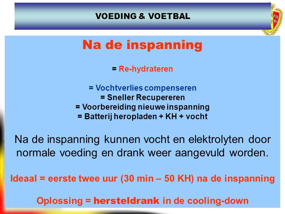VOEDING & VOETBAL Na de inspanning. = Re-hydrateren. = Vochtverlies compenseren. = Sneller Recupereren.