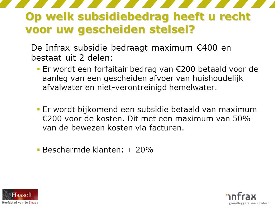 Op welk subsidiebedrag heeft u recht voor uw gescheiden stelsel