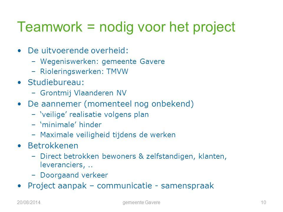 Teamwork = nodig voor het project